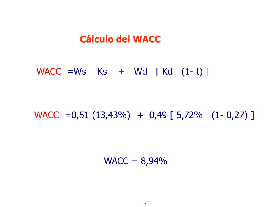 Cálculo del WACCWACC =Ws Ks + Wd [ Kd (1- t) ] WACC =0,51 (13,43%) + 0,49 [ 5,72% (1- 0,27) ]